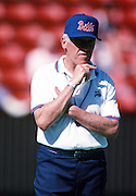 The American Football Conference Buffalo Bills head coach Marv Levy looks on while the team practices during the week of the 1989 NFL Pro Bowl football game against the National Football Conference on Jan. 24, 1989 in Honolulu. The NFC won the game 34-3. (©Paul Anthony Spinelli)