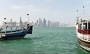 General overall view of the downtown Doha skyline and bay in Doha, Qatar, Friday, April 20, 2019. Doha will play host to the 2019 IAAF World Championships in Athletics and 2022 FIFA World Cup. (Jiro Mochizuki/Image of Sport via AP)
