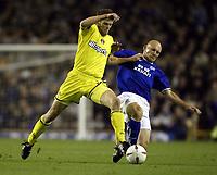 Photo. Aidan Ellis.<br />Everton v Charlton. <br />Carling Cup Round 3.<br />29/10/2003.<br />Everton's Thomas Gravesen and Charlton's Hermann Hreidarsson