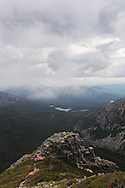"""View of Baxter State Park in Maine from above the """"Second Cathedral"""" on Mt Katahdin.   Katahdin raises 5267ft and in addition to being the northern terminus of the Appalachian Trail is the highest peak in Maine."""