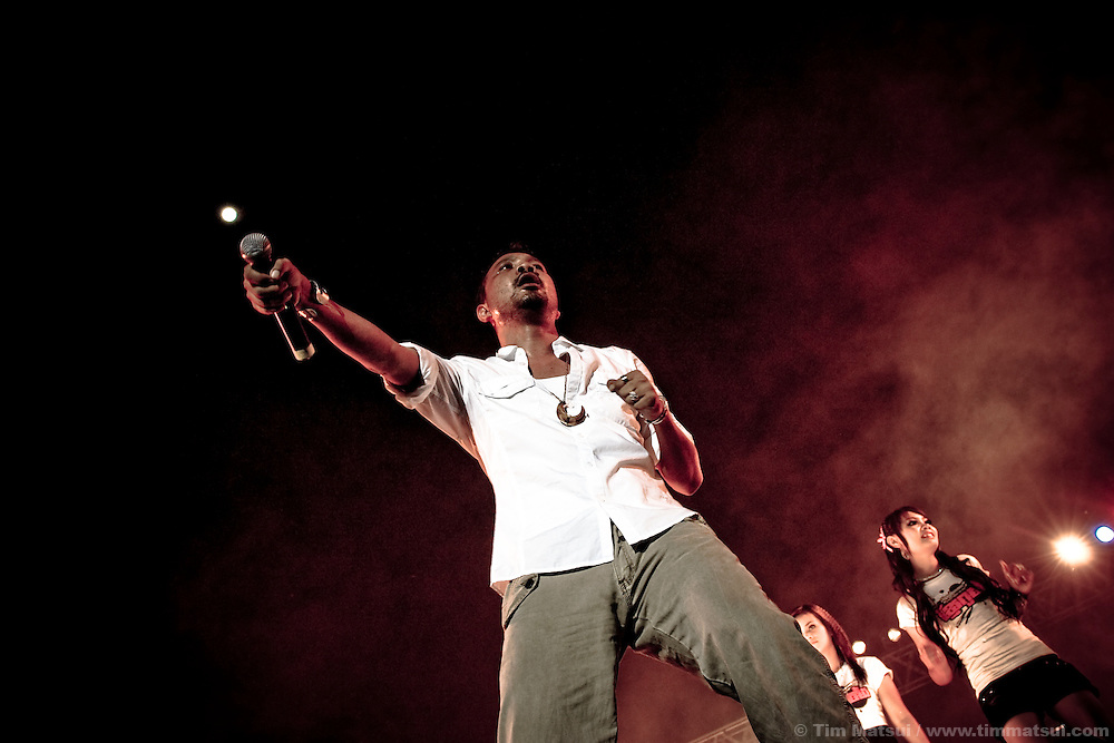 A Cambodian rapper performs at the MTV Exit concert in Phnom Penh, Cambodia. The concert series is meant to build awareness of human trafficking and exploitation.