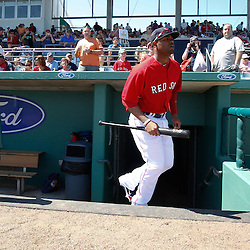 March 7, 2011; Fort Myers, FL, USA; Boston Red Sox left fielder Carl Crawford (13) before a spring training exhibition game against the Baltimore Orioles at City of Palms Park.   Mandatory Credit: Derick E. Hingle