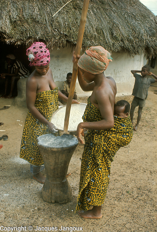 Village life in Africa: West Africa, Liberia, Kpelle tribe. Women pounding manioc using mortar and pestle. One women is carrying her baby strapped on her back.