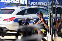 Riejanne Markus keeps cool in the shade ahead of Stage 4 of the Giro Rosa - a 118 km road race, starting and finishing in Occhiobello on July 3, 2017, in Rovigo, Italy. (Photo by Sean Robinson/Velofocus.com)