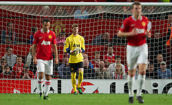 27.09.2011, Old Trafford, London, ENG, UEFA CL, Gruppe C, Manchester United (ENG) vs FC Basel (SUI), im Bild Manchester United's goalkeeper David de Gea looks dejected as FC Basel 1893 score their first goal // during the UEFA Champions League game, group C, Manchester United (ENG) vs FC Basel (SUI) at Old Trafford stadium in London, United Kingdom on 2011/09/27. EXPA Pictures © 2011, PhotoCredit: EXPA/ Propaganda Photo/ David Rawcliff +++++ ATTENTION - OUT OF ENGLAND/GBR+++++