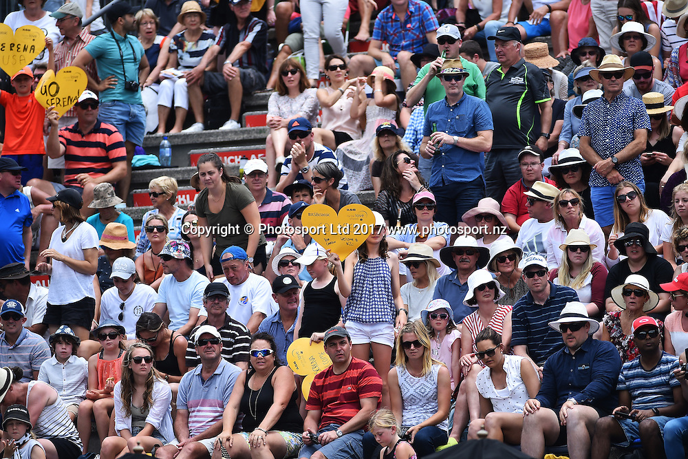 Fans during the ASB Classic WTA Womens Tournament Day 2. ASB Tennis Centre, Auckland, New Zealand. Tuesday 3 January 2017. ©Copyright Photo: Chris Symes / www.photosport.nz