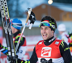 21.12.2014, Nordische Arena, Ramsau, AUT, FIS Nordische Kombination Weltcup, Langlauf, im Bild Jubel bei Sieger Jason Lamy Chappuis (FRA) // Winner Jason Lamy Chappuis (FRA) celebrate during Cross Country Gundersen 10 km of FIS Nordic Combined World Cup, at the Nordic Arena in Ramsau, Austria on 2014/12/21. EXPA Pictures © 2014, EXPA/ JFK