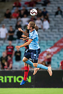Sydney FC midfielder Siem de Jong (22) goes up for the ball at the Hyundai A-League Round 8 soccer match between Western Sydney Wanderers FC and Sydney FC at ANZ Stadium in NSW, Australia