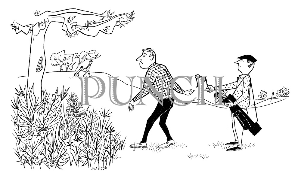 (A caddy passes a golfer a pair of glasses to look for a ball lost in the undergrowth)