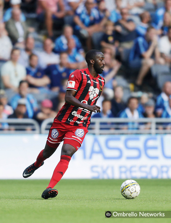 STOCKHOLM, SWEDEN - JULY 23: Ronald Mukibi of Östersunds FK during the Allsvenskan match between Djurgårdens IF and Östersunds FK at Tele2 Arena on July 23, 2017 in Stockholm, Sweden. Foto: Nils Petter Nilsson/Ombrello
