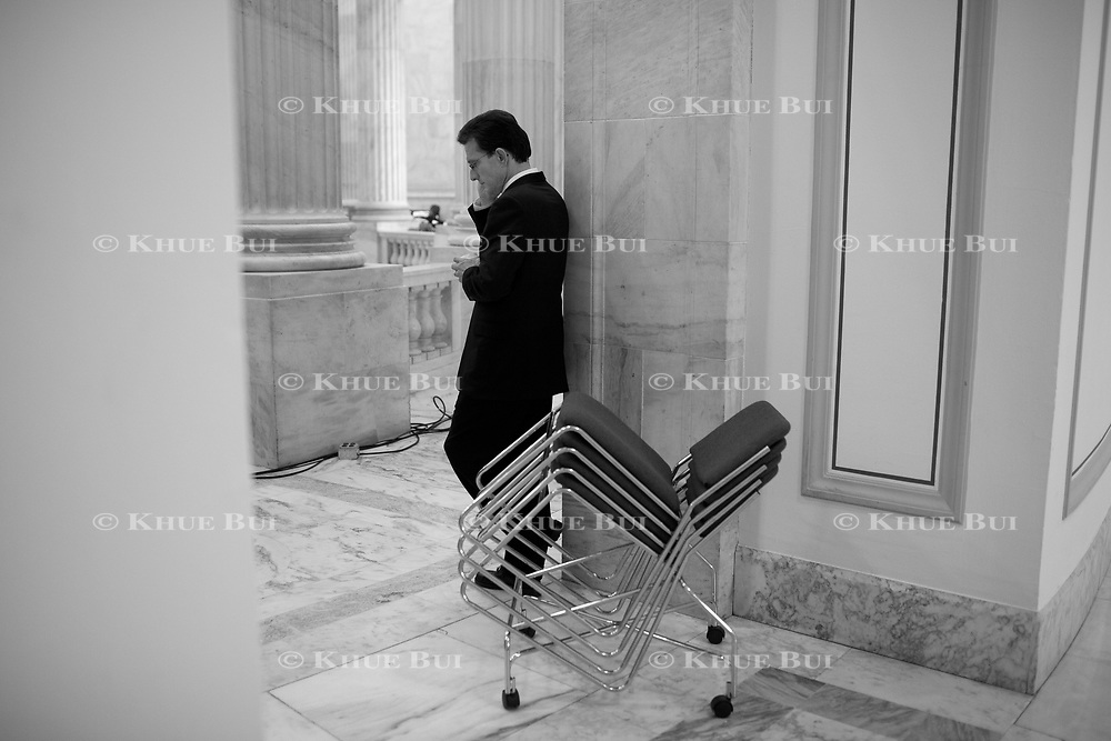 House Minority Whip Eric Cantor (R-VA) fields a phone call in between media interviews in the Russell Rotunda November 2, 2010, in Washington, DC.  Sweeping victories by Republican House candidates leads to a change in party control of the US House...and Cantor is expected to become the next Majority Leader.  ****Image available in color and/or B&W****..Photo by Khue Bui