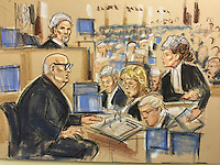 Harry Clarke in foreground questioned by woman QC standing ,Baines far right