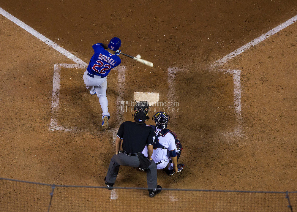 MINNEAPOLIS, MN- JUNE 19: Addison Russell #22 of the Chicago Cubs bats against the Chicago Cubs on June 19, 2015 at Target Field in Minneapolis, Minnesota. The Twins defeated the Cubs 7-2. (Photo by Brace Hemmelgarn) *** Local Caption *** Addison Russell