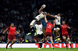 Tevita Cavubati of Fiji claims the ball in the air - Mandatory byline: Patrick Khachfe/JMP - 07966 386802 - 18/09/2015 - RUGBY UNION - Twickenham Stadium - London, England - England v Fiji - Rugby World Cup 2015 Pool A.
