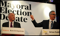 Liberal Democrat Mayoral Candidate for the London Mayor Brian Paddick and Labour candidate Ken Livinstone during the Evening Standard Mayoral Debate, during the Mayoral Campaign, April 11, 2012. Photo By Andrew Parsons/I-images