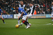 Alfredo Morelos of Rangers gets tackled by Paul McGinn of St Mirren inside the box during the Ladbrokes Scottish Premiership match between St Mirren and Rangers at the Simple Digital Arena, Paisley, Scotland on 3 November 2018.