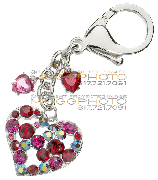 swarovski silver and crystal heart keyring
