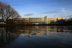 14th March 2017 - UEFA Champions League - Round of 16 (2nd Leg) - Leicester City v Sevilla - A general view (GV) of the King Power Stadium reflected in the water - Photo: Simon Stacpoole / Offside.