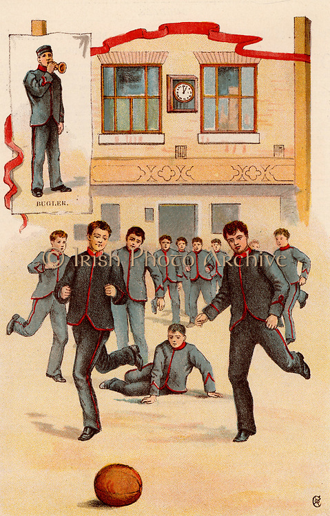 Game of football at Boy's Home, Stepney, London.  From 'Bubbles' c1900 published by Dr Barnados Homes for Children. Oleograph.