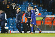 Cardiff City first team manager Neil Warnock congratulates Cardiff City midfielder Callum Paterson (18) at full time  during the EFL Sky Bet Championship match between Leeds United and Cardiff City at Elland Road, Leeds, England on 3 February 2018. Picture by Paul Thompson.