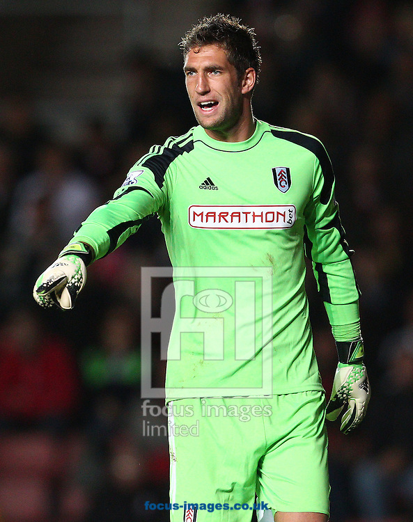 Picture by Paul Terry/Focus Images Ltd +44 7545 642257<br /> 26/10/2013<br /> Maarten Stekelenburg of Fulham during the Barclays Premier League match at the St Mary's Stadium, Southampton.