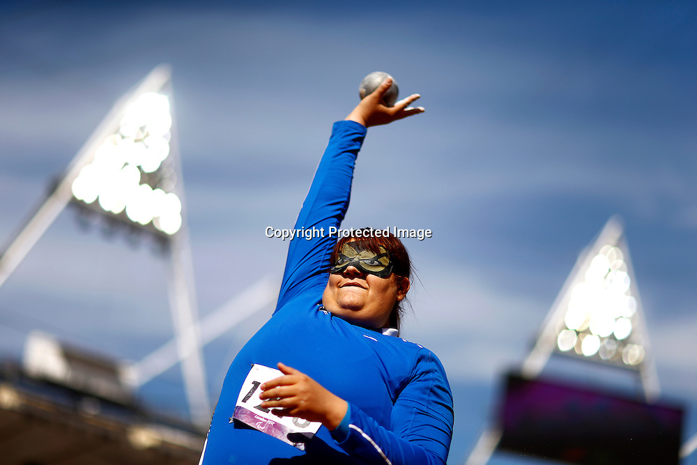 Assunta Legnante of Italy competes in the women's Shot Put F11/12 final at the Olympic Stadium during the London 2012 Paralympic Games in London, Britain, 05 September 2012. Legnante won the gold medal.  EPA/KERIM OKTEN