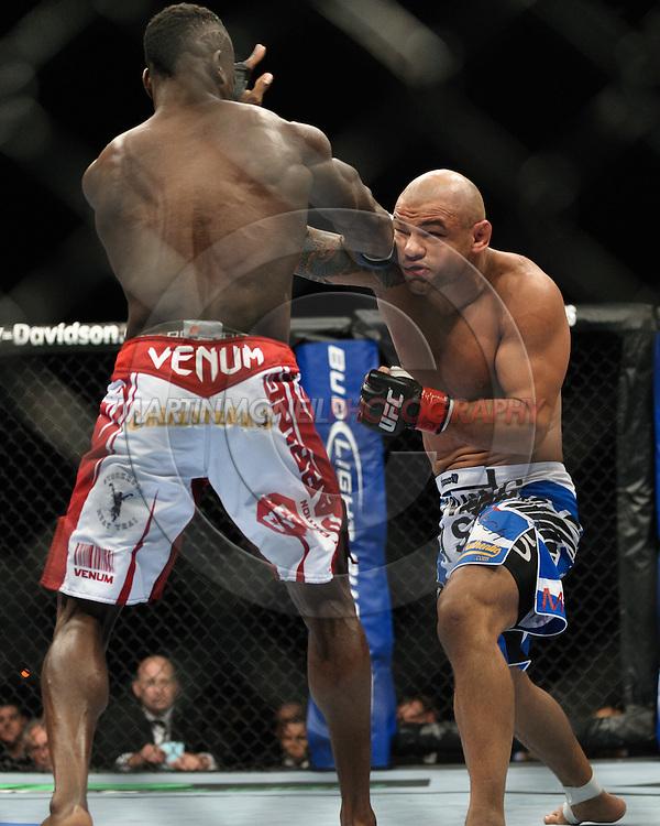 "BIRMINGHAM, ENGLAND, NOVEMBER 5, 2012: Thiago Alves and Papy Abedi during ""UFC 138: Munoz vs. Leben"" inside the National Indoor Arena in Birmingham, United Kingdom"