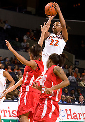 Virginia forward Monica Wright (22) shoots a jump shot in action against St. Francis.  The #15 ranked Virginia Cavaliers defeated the St. Francis (Pa.) Red Flash 82-66 in NCAA Women's Basketball at the John Paul Jones Arena on the Grounds of the University of Virginia in Charlottesville, VA on January 5, 2009.