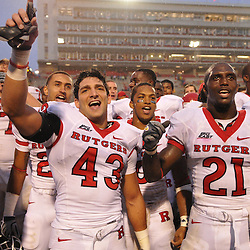 Sep 26, 2009; College Park, MD, USA; Rutgers cornerback Ramy Nubani (43) and cornerback Devin Mccourty (21) celebrate Rutgers' 34-13 victory over Maryland in NCAA college football at Byrd Stadium.