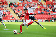 Charlton Athletic forward Nicky Ajose (10) with a shot on goal during the EFL Sky Bet Championship match between Charlton Athletic and Bolton Wanderers at The Valley, London, England on 27 August 2016. Photo by Matthew Redman.
