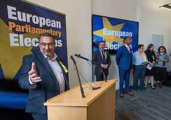 Pictured: New SNP MEP Christian Allard speaks after the declaration with the other five new MEP's in the background.<br /> <br /> Scotland's results in the European elections were announced at the City Chambers in Edinburgh.<br /> <br /> © Dave Johnston / EEm