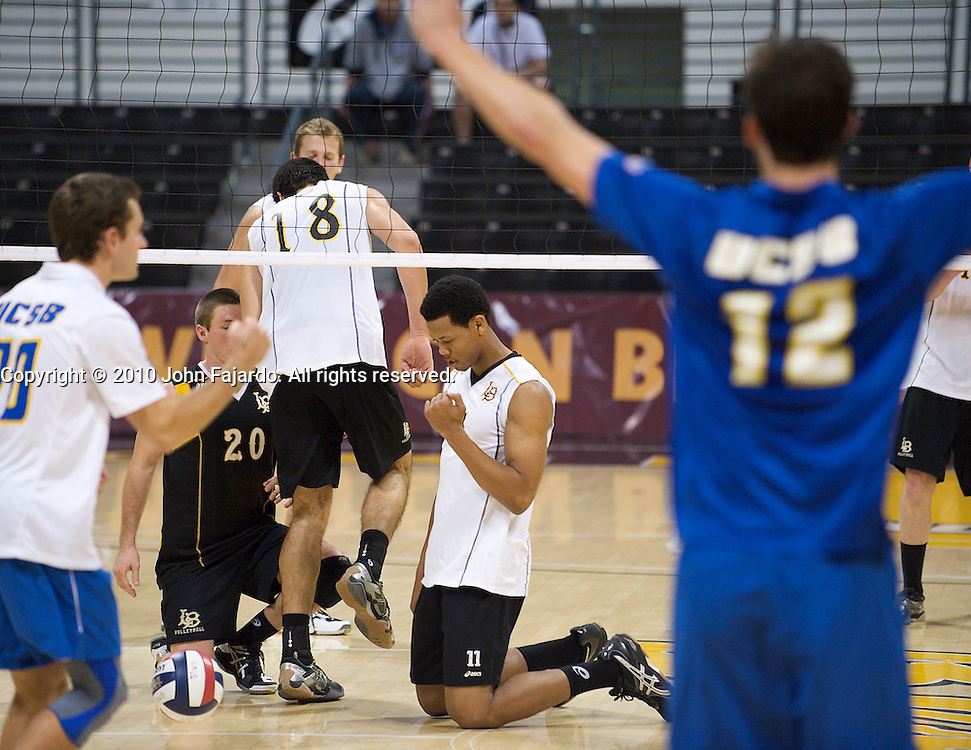 Antwain Aguillard(Center) laments over the lost point in the Big West Conference match against U.C. Santa Barbara at the Walter Pyramid, Long Beach CA, Friday Feb. 12, 2010.