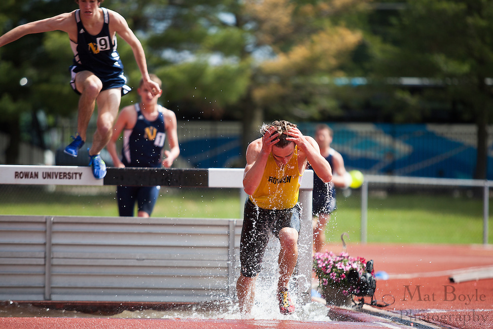 Rowan University sophomore Jesse Spector competes in the men's 3000 meter steeplechase  at the NJAC Track and Field Championships at Richard Wacker Stadium on the campus of  Rowan University  in Glassboro, NJ on Sunday May 5, 2013. (photo / Mat Boyle)
