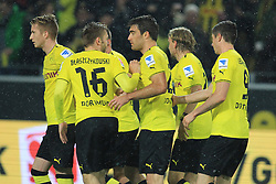 "01.11.2013, Signal Iduna Park, Dortmund, GER, 1. FBL, Borussia Dortmund vs VfB Stuttgart, 11. Runde, im Bild vl: Marco Reus #11 (Borussia Dortmund), Jakub ""Kuba"" Blaszczykowski #16 (Borussia Dortmund), Torschuezte Sokratis #25 (Borussia Dortmund), Marcel Schmelzer #29 (Borussia Dortmund), Robert Lewandowski #9 (Borussia Dortmund) beim Torjubel nach dem Kopfballtreffer zum 1:1, Emotion, Freude, Glueck, Positiv // during the German Bundesliga 11th round match between Borussia Dortmund and VfB Stuttgart at the Signal Iduna Park in Dortmund, Germany on 2013/11/02. EXPA Pictures © 2013, PhotoCredit: EXPA/ Eibner-Pressefoto/ Schueler<br /> <br /> *****ATTENTION - OUT of GER*****"