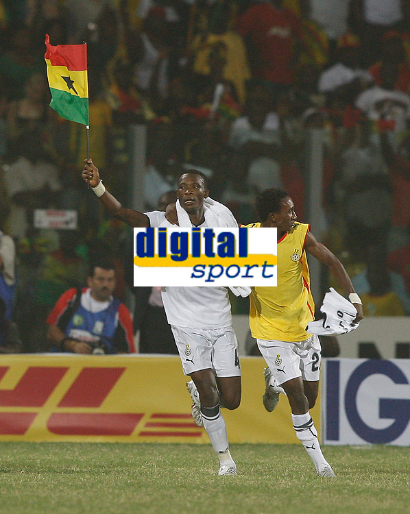 Photo: Steve Bond/Richard Lane Photography.<br /> Ghana v Morocco. Africa Cup of Nations. 28/01/2008. John Pantsil (L) and Hans Adu Sarpei (R) celebrate qualification
