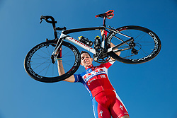 Domen Novak of Cycling Team Adria Mobil poses for a portrait session ahead of the 2014 road season on February 25, 2014 in Cesca vas at Novo mesto, Slovenia. Photo by Vid Ponikvar / Sportida