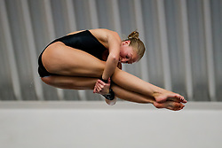 Sarah Barrow of Plymouth Diving competes in the Womens 10m Platform Final - Photo mandatory by-line: Rogan Thomson/JMP - 07966 386802 - 21/02/2015 - SPORT - DIVING - Plymouth Life Centre, England - Day 2 - British Gas Diving Championships 2015.