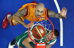 Pero Antic of Macedonia vs Goran Jagodnik of Slovenia during basketball game between National basketball teams of F.Y.R. of Macedonia and Slovenia at FIBA Europe Eurobasket Lithuania 2011, on September 10, 2011, in Siemens Arena,  Vilnius, Lithuania. Macedonia defeated Slovenia 68-59. (Photo by Vid Ponikvar / Sportida)