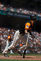 SAN FRANCISCO, CA - AUGUST 26: Steven Duggar #6 of the San Francisco Giants hits a two run triple against the Texas Rangers during the fourth inning at AT&T Park on August 26, 2018 in San Francisco, California. The San Francisco Giants defeated the Texas Rangers 3-1. All players across MLB will wear nicknames on their backs as well as colorful, non-traditional uniforms featuring alternate designs inspired by youth-league uniforms during Players Weekend. (Photo by Jason O. Watson/Getty Images) *** Local Caption *** Steven Duggar