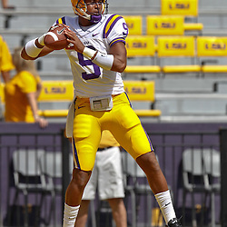 October 8, 2011; Baton Rouge, LA, USA; LSU Tigers quarterback Jordan Jefferson (9) prior to kickoff of a game against the Florida Gators at Tiger Stadium.  Mandatory Credit: Derick E. Hingle-US PRESSWIRE / © Derick E. Hingle 2011