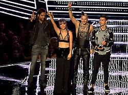 Cole Whittle, Joe Jonas, JinJoo Lee and Jack Lawless of DNCE with their award during the show at the MTV Video Music Awards 2016, Madison Square Garden, New York City.