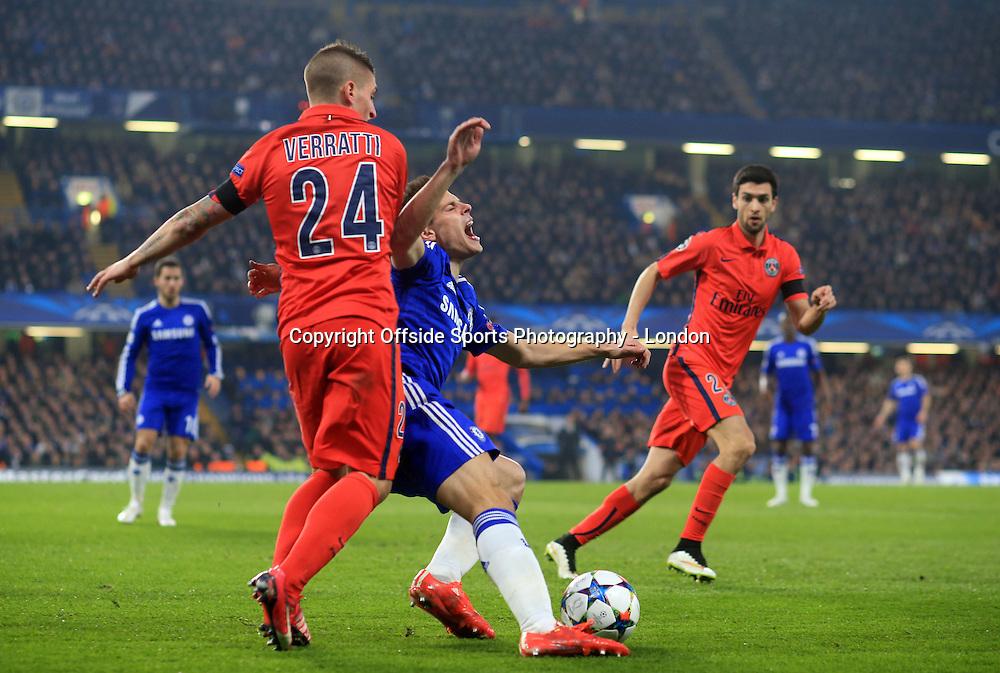 11 March 2015 Champions League Football - Chelsea v Paris Saint-Germain : Cesar Azpilicueta of Chelsea is fouled by Marco Verratti.<br /> Photo: Mark Leech