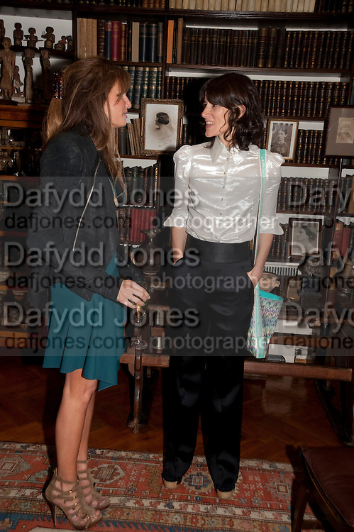 JEMIMA KHAN; BELLA FREUD, Freud Museum dinner, Maresfield Gardens. 16 June 2011. <br /> <br />  , -DO NOT ARCHIVE-© Copyright Photograph by Dafydd Jones. 248 Clapham Rd. London SW9 0PZ. Tel 0207 820 0771. www.dafjones.com.