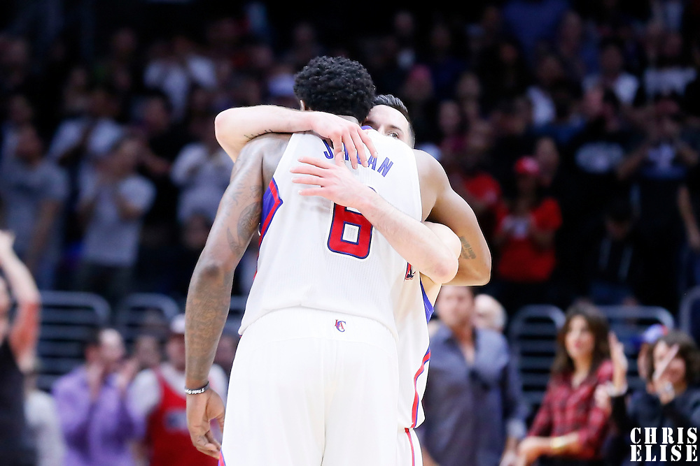 11 February 2015: Los Angeles Clippers center DeAndre Jordan (6) is congratulated by Los Angeles Clippers guard J.J. Redick (4) during the Los Angeles Clippers 110-95 victory over the Houston Rockets, at the Staples Center, Los Angeles, California, USA.