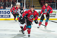 KELOWNA, CANADA - MARCH 16:  Liam Kindree #26 of the Kelowna Rockets skates against the Vancouver Giants on March 16, 2019 at Prospera Place in Kelowna, British Columbia, Canada.  (Photo by Marissa Baecker/Shoot the Breeze)