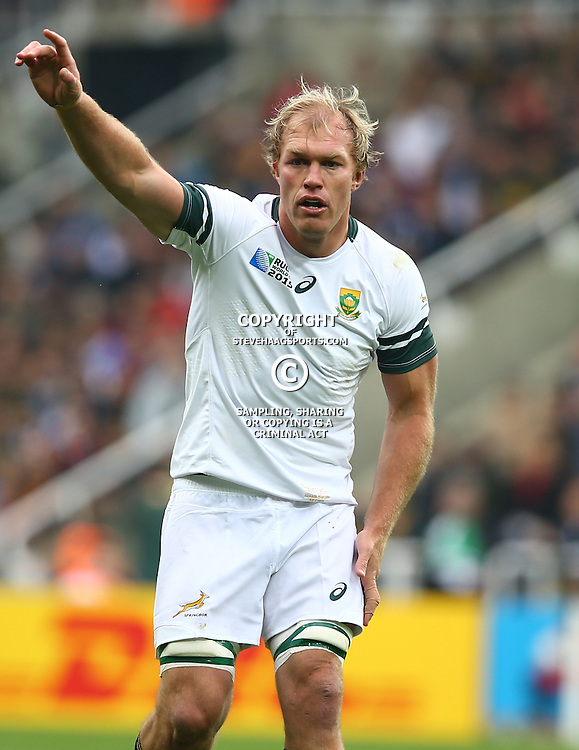 NEWCASTLE UPON TYNE, ENGLAND - OCTOBER 03: Schalk Burger of South Africa during the Rugby World Cup 2015 Pool B match between South Africa and Scotland at St James Park on October 03, 2015 in Newcastle upon Tyne, England. (Photo by Steve Haag/Gallo Images)