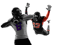 two american football players quarterback sacked in silhouette shadow on white background