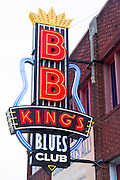 Neon sign for B.B. King's Blues Club in famous Beale Street entertainment district of Memphis, Tennessee, USA