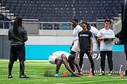 Academy student athletes try out today during the NFL Academy Stadium Showcase (board jump) during the NFL Media Day held at Tottenham Hotspur Stadium, London, United Kingdom on 2 July 2019.