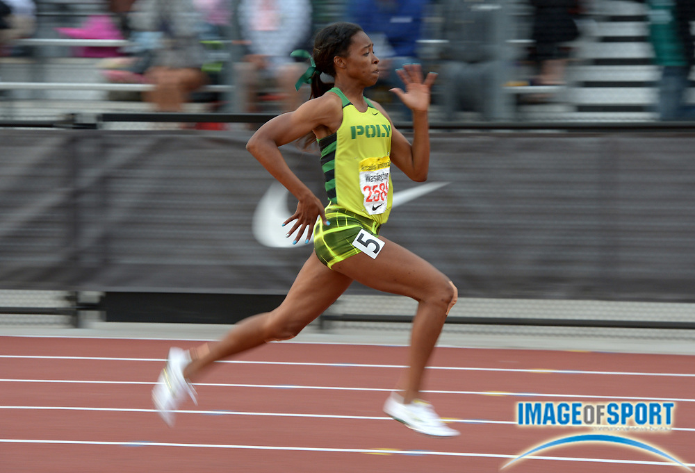 Apr 12, 2014; Arcadia, CA, USA; Ariana Washington of Long Beach Poly wins the girls 100m in a wind-aided 11.38 in the 47th Arcadia Invitational at Arcadia High.